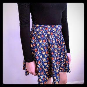 Blue skater skirt with floral print